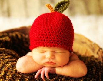 Baby Hat CROCHET PATTERN in 5 sizes 0-10 years, Baby Child An Apple a Day