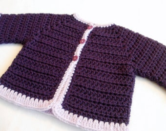 Crocheted Baby Girl's Sweater Purple Lavender Baby Sweater