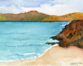 Aruba watercolors paintings original, lovely sea, Beach Art, 4 x 6 watercolor seascape, SharonFosterArt