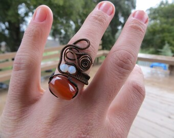 Adjustable Carnelian Copper Wire Wrapped Ring with Opalite Accents