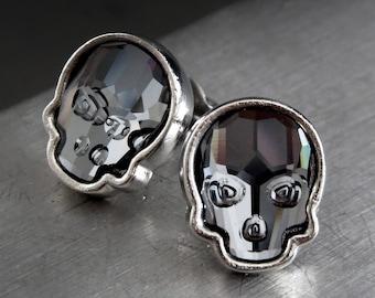Crystal Skull Stud Earrings - Swarovski Crystal Black Skull Post Earrings in Silver Tone Bezels, Goth Gothic Halloween Jewelry, Unisex Studs