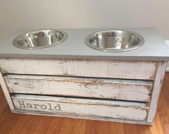 White Distressed Dog Feeder with Storage/Gray Lid/Small/Medium Sized Dogs/Elevated Stand