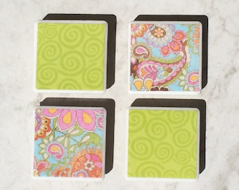 Floral magnets, groovy magnets, fun magnets, fridge magnets, tile magnets, groovy gifts, floral gifts, mother's day gift, graduation gits