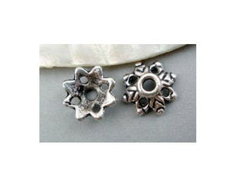 Set of 20 carved 8 mm x 3 mm silver-plated caps