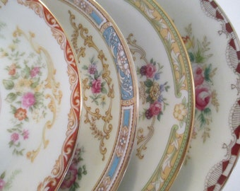 Vintage Mismatched China Saucers for Tea Party, Wedding, Luncheons, Showers, Tea Plates, Bridesmaid Gift, Cottage Chic - Set of 4
