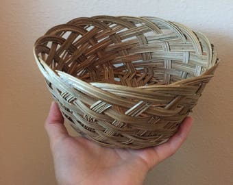 Woven Wicker Basket- Vintage Basket- Basket Planter-Unique Woven Basket Storage- Vintage Storage- Wicker Collection- Vintage Boho Decor