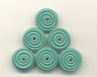17mm range, Tom's lampwork celadon green disc beads, 2 beads, 1 pair, 95760-1A