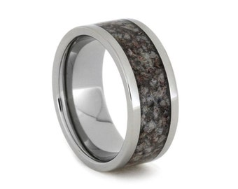 Titanium Ring with Dark Tone Crushed Antler, Deer Antler Wedding Band and the Very First Crushed Antler Ring, Ring Armor Included