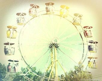 """Ferris Wheel Art - yellow nursery art 16x20 carnival art 8x10 prints children wall art 11x14 summer wall decor whimsical art - """"Summertime"""""""
