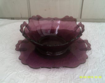 Vintage Amethyst Glass Handled Bowl with Under Plate, Purple Glass Serving Bowl, Amethyst Glassware