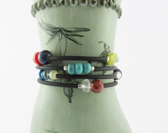 Small memory wire bracelet, multi-stone bracelet, turquoise, coral, carnelian wrap around bracelet, jade bracelet, black rubber tubing, gift