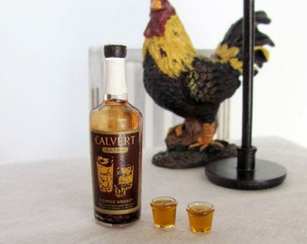 Miniature Calvert  Blended Whiskey VINTAGE  Bottle & 2 Glass Shots - Miniature Drinks for 1:6 Scale Fashion Dolls and Action Figures