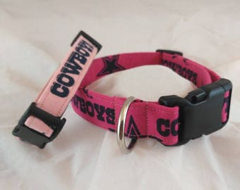 Pink Dallas Cowboys, Dog or Cat Collar, Adjustable Collars, Small Dog Collar, Breakaway Collar, Pet Collar, Collar de perro