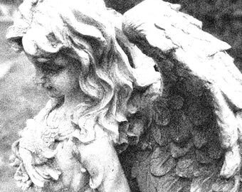 Angel statue photo black and white processed free use