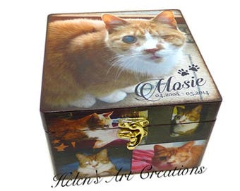 Cat Memorial Collage Box, Pet Keepsake Box, Cat Urn, Collage Pet Box, Personalized Keepsake Box, Photo Collage, Custom Cat Memorial Box