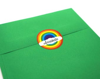 Personalized Rainbow Stickers, 30 Circle Stickers : Free Shipping