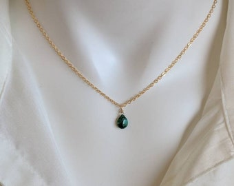 Emerald necklace. Your choice of gold filled or sterling silver