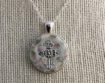 Mosaic Cross Pendant Made from Vintage China
