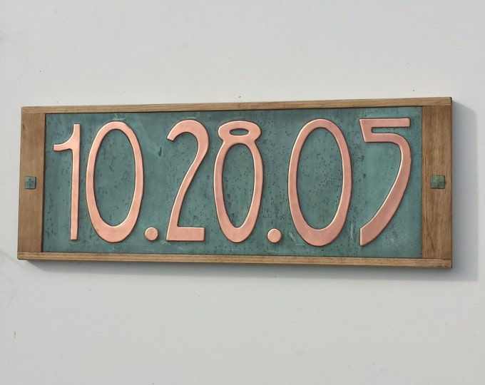 """Copper Wedding Anniversary date Gift seventh, ninth  with oak frame,  in 6""""/150mm in Art Nouveau, shipped worldwide g"""