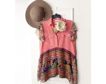Upcycled Boho shirt -   Salmon Silk top,  exotic Hawaiian print,  recycled repurposed clothing, gypsy top, boho tunic top, hippie tunic