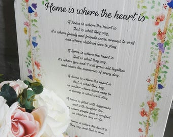 Unique Rustic Floral Original Poem 'Home is where the heart is' A4 Wood Plaque with Rope Hanging. Home/ Gift/ Family