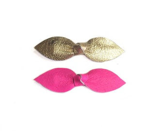 Gold and Pink Leather Hair bows, neon pink bow, gold leather bow, baby pink bow, gold bow, toddler hair clips, leather bows, top knot bow