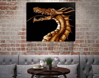 "Golden Dragon Framed Canvas Gallery Wrap Wall Hanging 16"" x 20"""