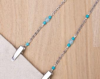 Chaîne de serviette Turquoise - Pierre et perle bleu rond de serviette argent clip | Cordon de cou élégant serviette porte | Cadeaux gourmands | Bavoir de dîner adulte