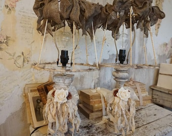 Rustic farmhouse mismatched table lamps deconstructed shades distressed dirty white taupe bases lampshade lighting decor anita spero design