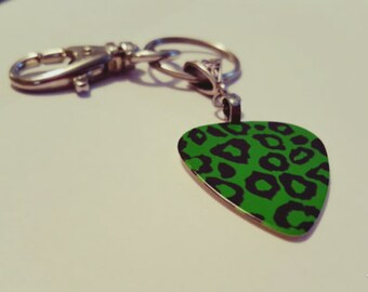 Guitar Pick KeyChain - Guitar Pick Jewelry - Green Key Chain - Leopard Key chain - Animal Print Jewelry - Pick Key Chain - Leopard Print