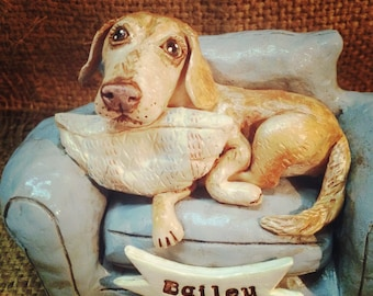 Personalized pet clay folk art sculpture or memorial based on your pets photo