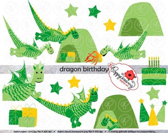 Dragon Birthday: Clip Art Pack (300 dpi transparent png) Card Making Digital Scrapbook Dragon Gift Party Hat Sage Green Boy Birthday