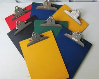 7 Vintage Clipboards - Colorful Plastic - Black Red Blue Yellow Green - Vintage Wall Display - Vintage Office - Nursery Playroom Wall Decor