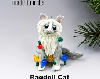 Ragdoll Cat PORCELAIN Christmas Ornament Figurine Made to Order