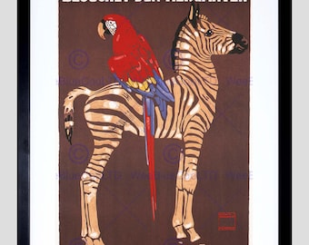 Art Print - Advert Zebra Zoo Vintage Poster Parrot Munich Germany FE848PY