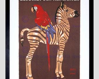 Kunstdruck - Anzeige Zebra Zoo Jahrgang Poster Papagei München Deutschland FE848PY