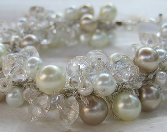 Pearl Crystal Bridal Bracelet, Wedding Elegance, ICED  CHAMPAGNE and PEARLS  Unique Hand Knit, Exclusive Original  by Sereba Designs