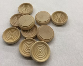 Unfinished Wooden Checkers - 1 1/4 inch - Pack of 25 - Natural Wood for Craft Tags and Packaging