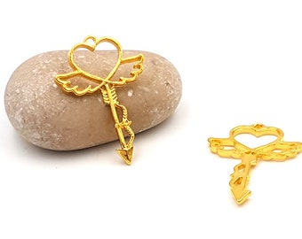 10 charms heart arrow wings gold gilded 39mm for resin creations