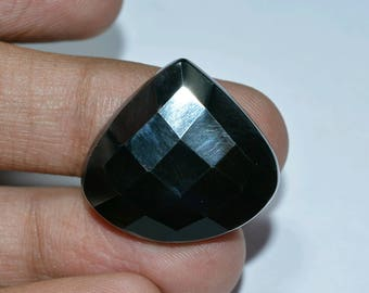 Faceted haematite cabochon pear..cabochon..26x24x5mm.42cts..A#201