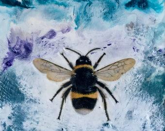 original encaustic painting-  Bumble Bee