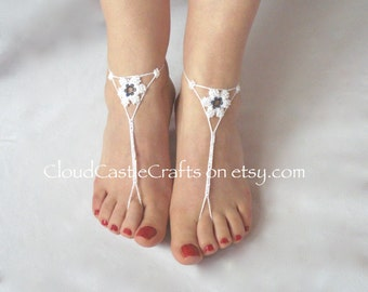 Beach Wedding Barefoot Sandals, Crochet Bare Foot Beach Wear, Foot Accessories, Barefoot Beach Wedding Shoes with Beads