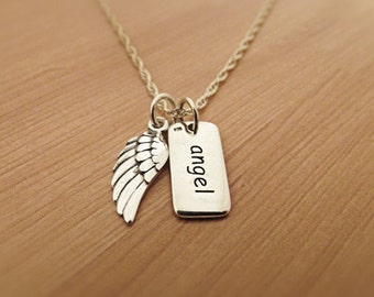 Angel  Angel Wing Necklace, Sterling Silver, Wing Necklace,Angel  Angel Wings, Faith Pendant, Faith Jewelry