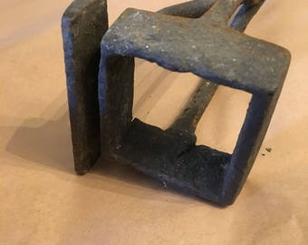 "Antique Branding Iron, Letter ""I Square"", ""Square I"", Approx 5"" wide, 40"" long, Heavy Duty, Very Old"