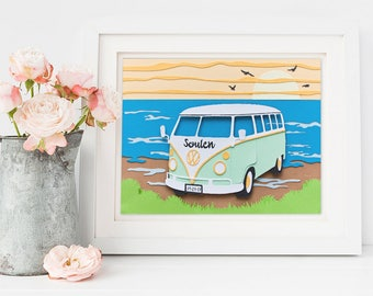 Volkswagen camper van, VW decor wall, custom paper cut, decoration wall, nursery camper van, gift volkswagen, camper framed , surf beach