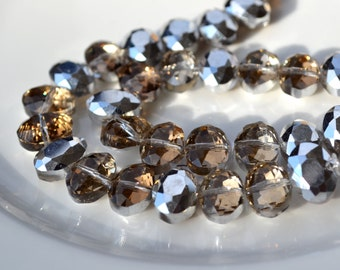 Amber and SIlver Oval Faceted Crystal Bead   6