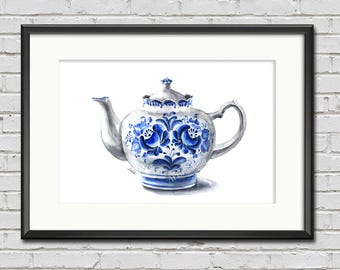 Chinese teapot print, teapot painting, blue and white art print