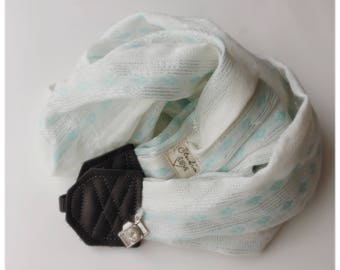 Studio amour courroie de l'appareil: éclat argenté blanc menthe écharpe photographe pro dslr cuir hiver cadeau de Noël