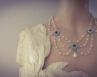 Vintage Bridal Pearl Necklace Blue Sapphire Stones Necklace Something Blue Stone Wedding pearl Necklace Victorian Rhinestone Silver Florence