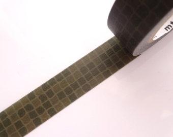 Dark green washi tape, Mosaic tile tape, Japanese stationery, Boho wedding, Japanese tape, Monotone washi tape, Masking tape, Hobonichi tape
